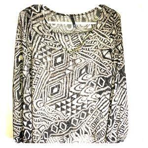 Cream and Black geometric sheer blouse